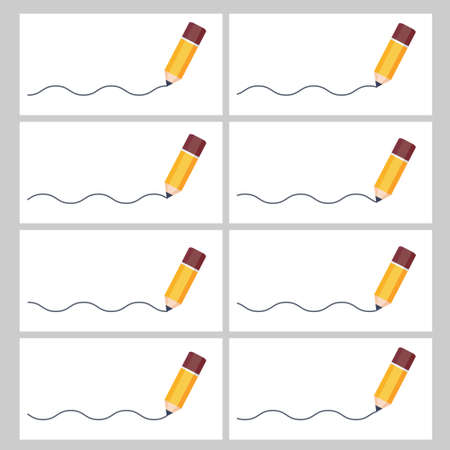 Pencil drawing wave sprite sheet. Vector illustration isolated on white background. Can be used for GIF animation