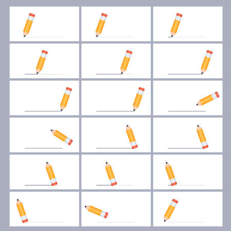 Pencil drawing and erasing line sprite sheet. Vector illustration isolated on white background. Can be used for GIF animation