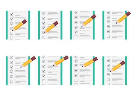 Pencil checking on to do list sprite sheet. Vector illustration isolated on white background. Can be used for GIF animation