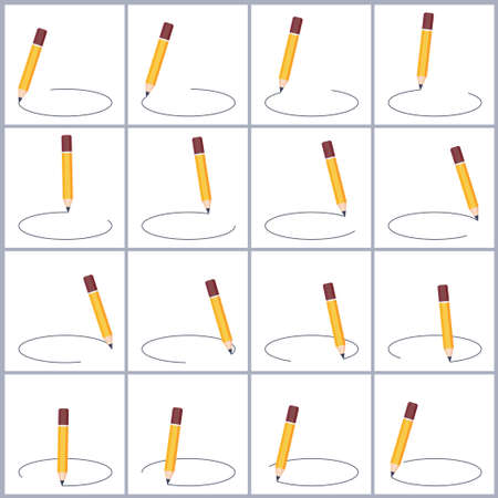 Pencil drawing circle sprite sheet. Vector illustration isolated on white background. Can be used for GIF animation
