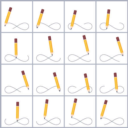 Pencil drawing infinity symbol sprite sheet. Vector illustration isolated on white background. Can be used for GIF animation Stock Illustratie