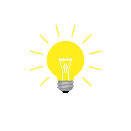 Light bulb shining icon in flat style
