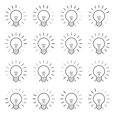 Light bulb rotating rays animation sprite linear Stockfoto - 129130702