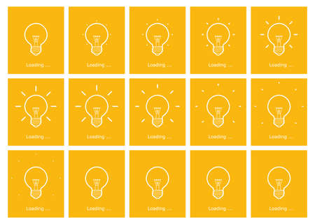 Light bulb shining outline animation sprite yellow