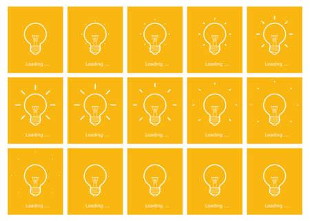 Light bulb shining outline animation sprite yellow