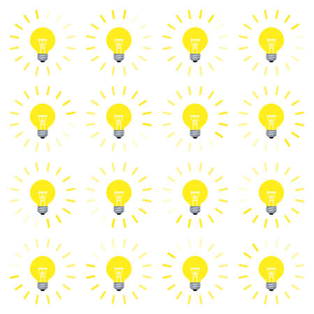 Light bulb rotating rays animation sprite in flat