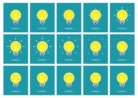 Light bulb shining animation sprite sheet flat Stockfoto - 129130704