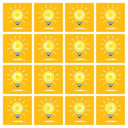 Light bulb with rotating preloader animation flat Stock Illustratie
