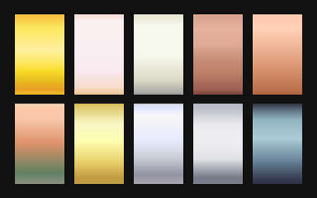 Vector set of gradient backgrounds metallic color