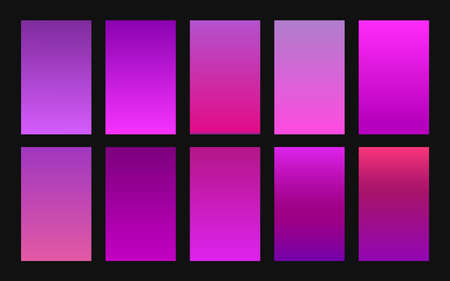 Vector set of gradient backgrounds purple color