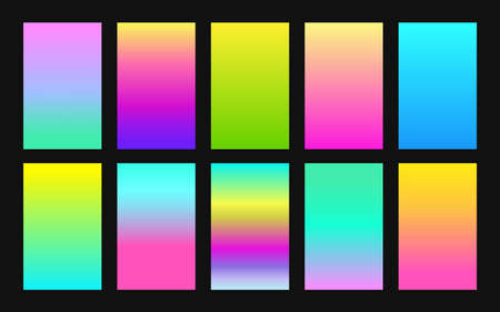 Vector set of gradient backgrounds neon color