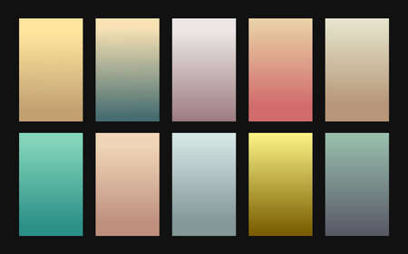 Vector set of gradient backgrounds vintage color Stock Illustratie