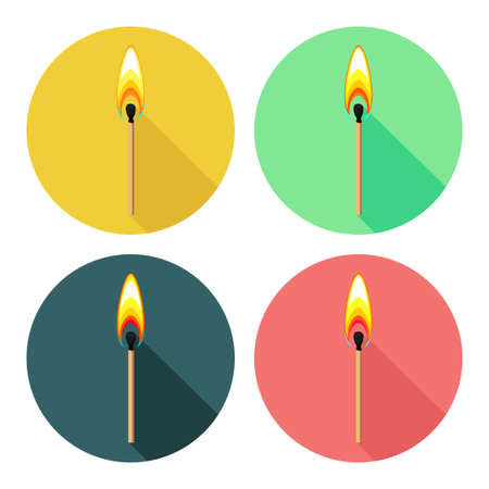 Round icons with burning match isolated on white Ilustração