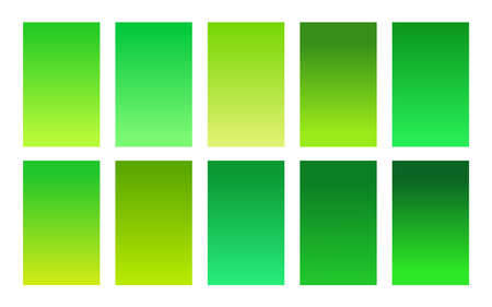 Set of gradient backgrounds green foliage color Çizim