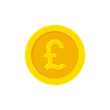 British Pound golden coin. Flat icon isolated Illustration