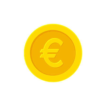 Euro golden coin. Flat icon isolated on white