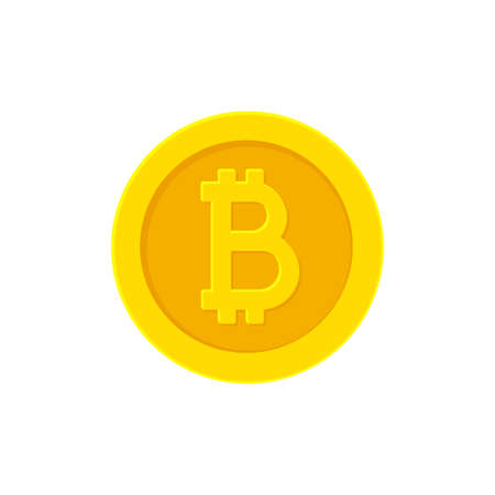 Bitcoin golden coin. Flat icon isolated on white