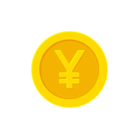 Yen or Yuan golden coin. Flat icon isolated white