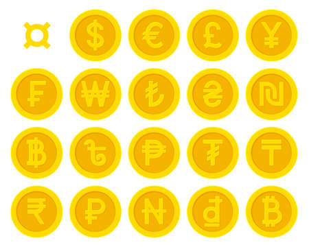Golden yellow coins with currency symbols set Illustration