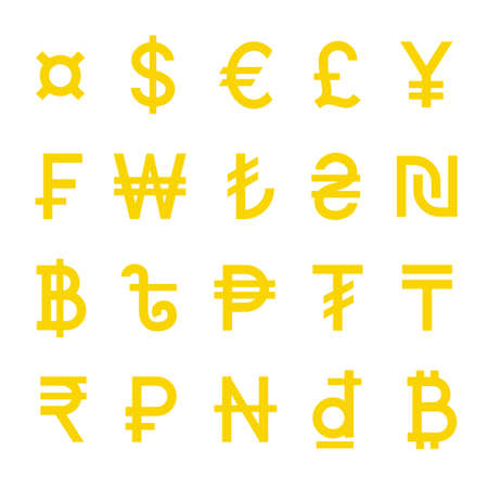 Yellow World Currency vector symbols set isolated Illustration