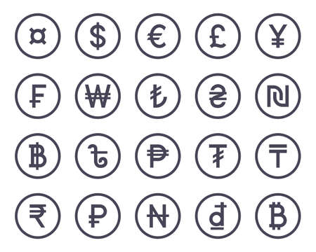 Currency symbol simple flat icons collection set