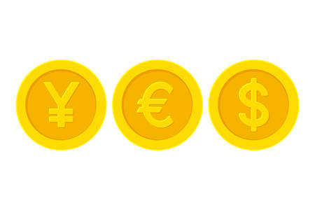 Word yes with yellow golden coins. Yen Euro Dollar Illustration