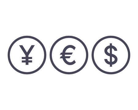 Word YES currency icons. Yen, Euro, Dollar symbols