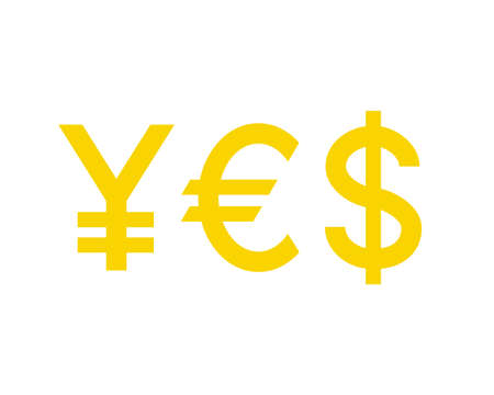 Word YES with currency symbols. Yen, Euro, Dollar