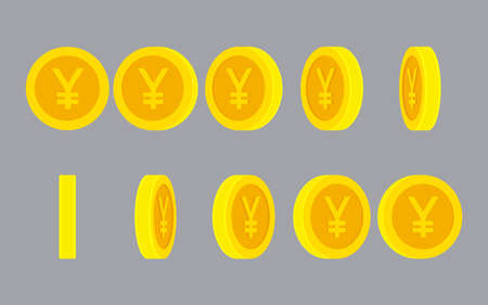 Yen or Yuan coin rotating animation sprite sheet