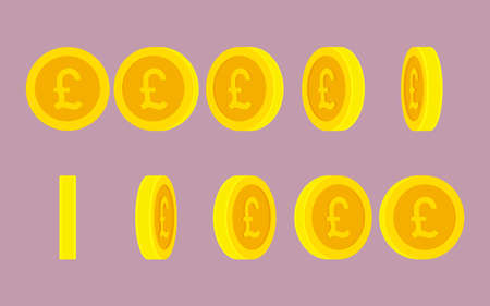 British Pound coin rotating animation sprite sheet Illustration