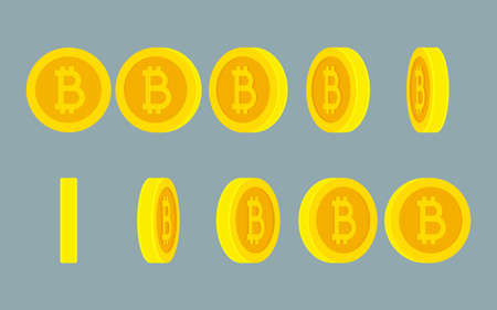 Bitcoin rotating gif animation sprite sheet on Illustration