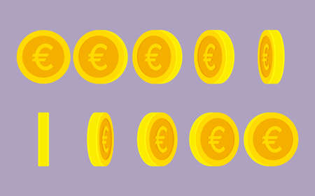 Euro coin rotating gif animation sprite sheet