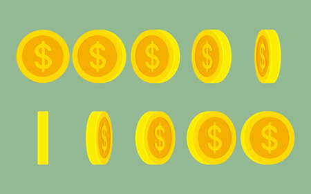 Dollar coin rotating gif animation sprite sheet