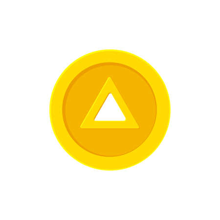 Triangular hole coin. Flat icon isolated on white