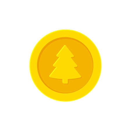 Golden yellow coin with a Christmas tree Illustration