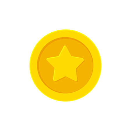 Golden coin with a Star. Vector illustration