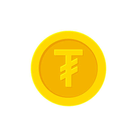 Mongolian Tugrik gold coin icon isolated on white Illustration