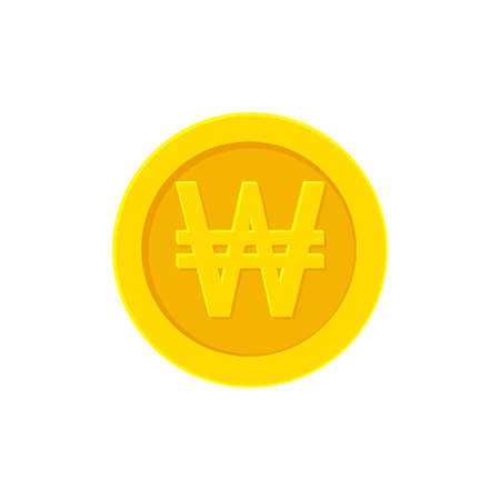 .Korean Won golden coin. Flat icon isolated on white background. Vector illustration Illustration