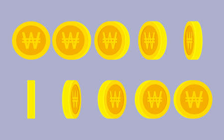 Korean Won coin rotating animation sprite sheet