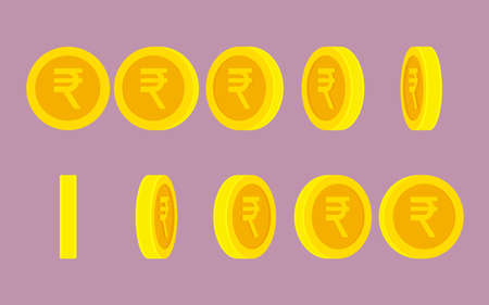 .Indian Rupee coin rotating. Vector sprite sheet isolated on plain background. Can be used for GIF animation