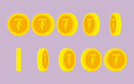 .Mongolian Tugrik coin rotating. Vector sprite sheet isolated on plain background. Can be used for GIF animation