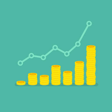 .Nonlinear growth graph with stacks of dollar coins and trend chart. Top down view flat vector illustration. Concept of investment, financial growth and business success Illustration