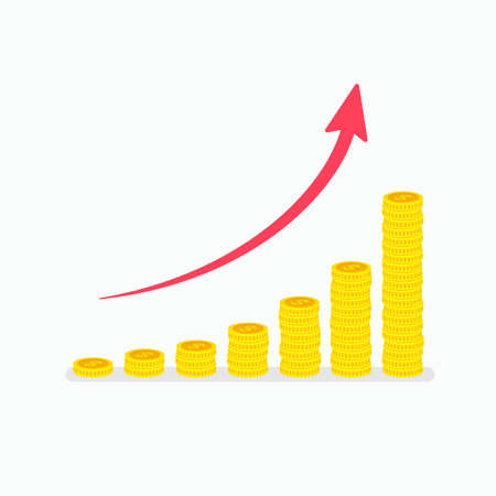 .Exponential growth graph with increasing stacks of dollar coins and arrow. Top down view flat vector illustration. Concept of profitable investment, financial growth and business success Illustration