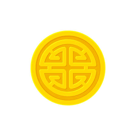 Golden coin with Chinese prosperity symbol Lu