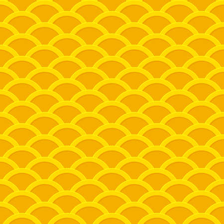 Seamless yellow wavy pattern from golden coins