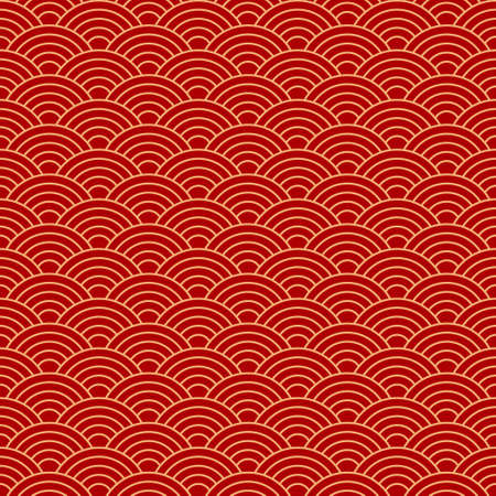 Seamless red wave dragon fish scales pattern