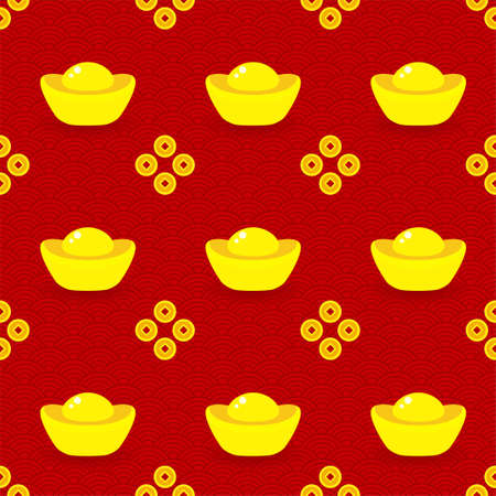 Seamless pattern of gold ingots and coins on red Illustration