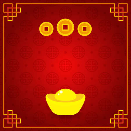 Chinese gold ingot and coins on seamless pattern Illustration