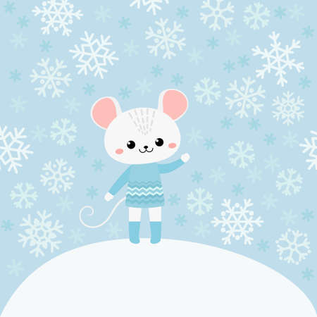 Cute mouse on blue background with snowflakes Illustration