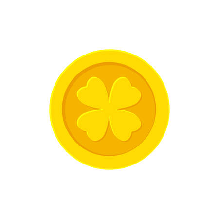 Golden coin with Four-leaf Clover. Vector illustration Illustration